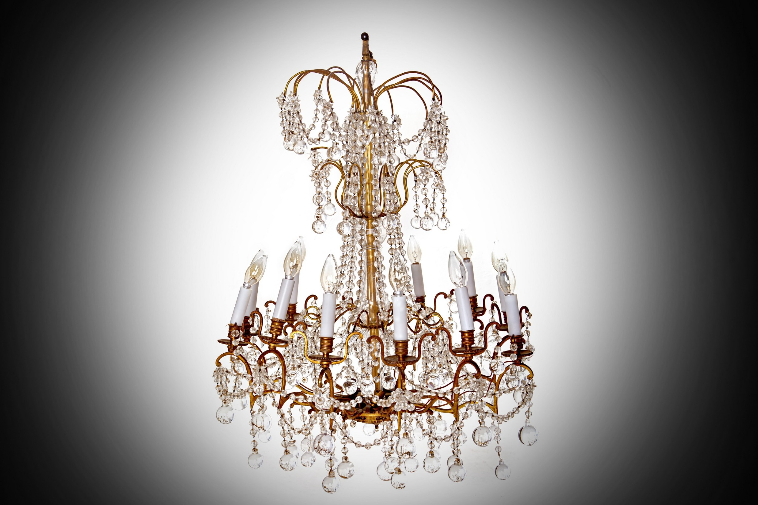 an early to mid 19th century glass and ormolu 12 light waterfall chandelier