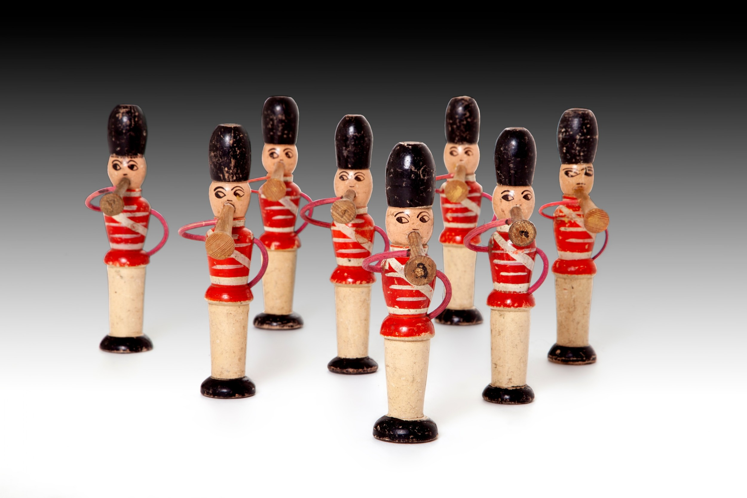 an extremely rare and charming group of musical toy soldiers