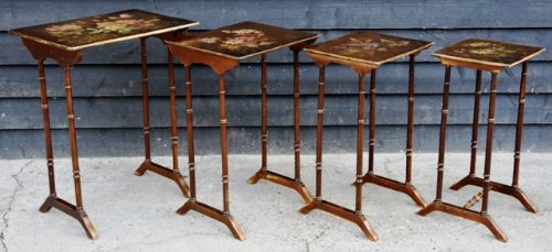 beautiful victorian hand painted quartetto nest of tables circa 1900