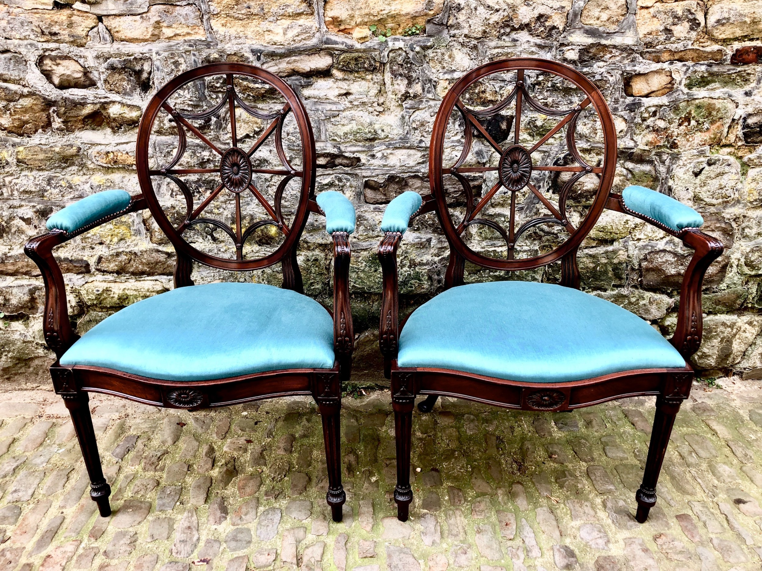 a pair of sheraton revival elbow chairs
