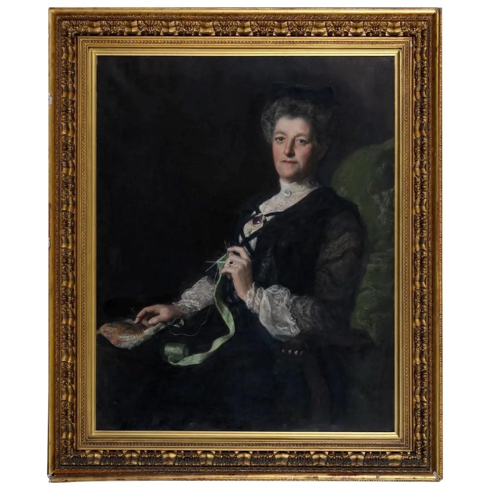 huge 19th century portrait seated lady john maler collier 18501934
