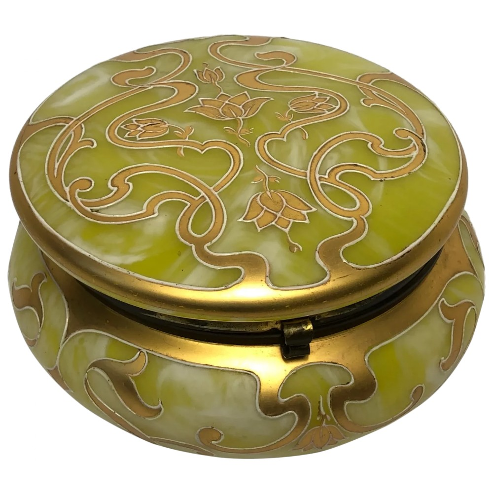 art nouveau loetz yellow art glass round gilt floral trinket box