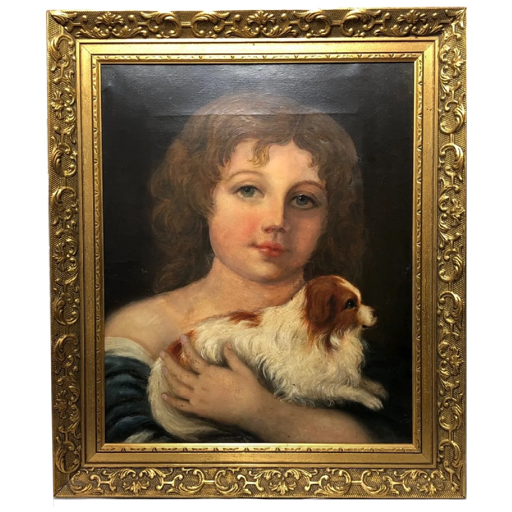19th century oil painting young girl cavalier king charles spaniel dog