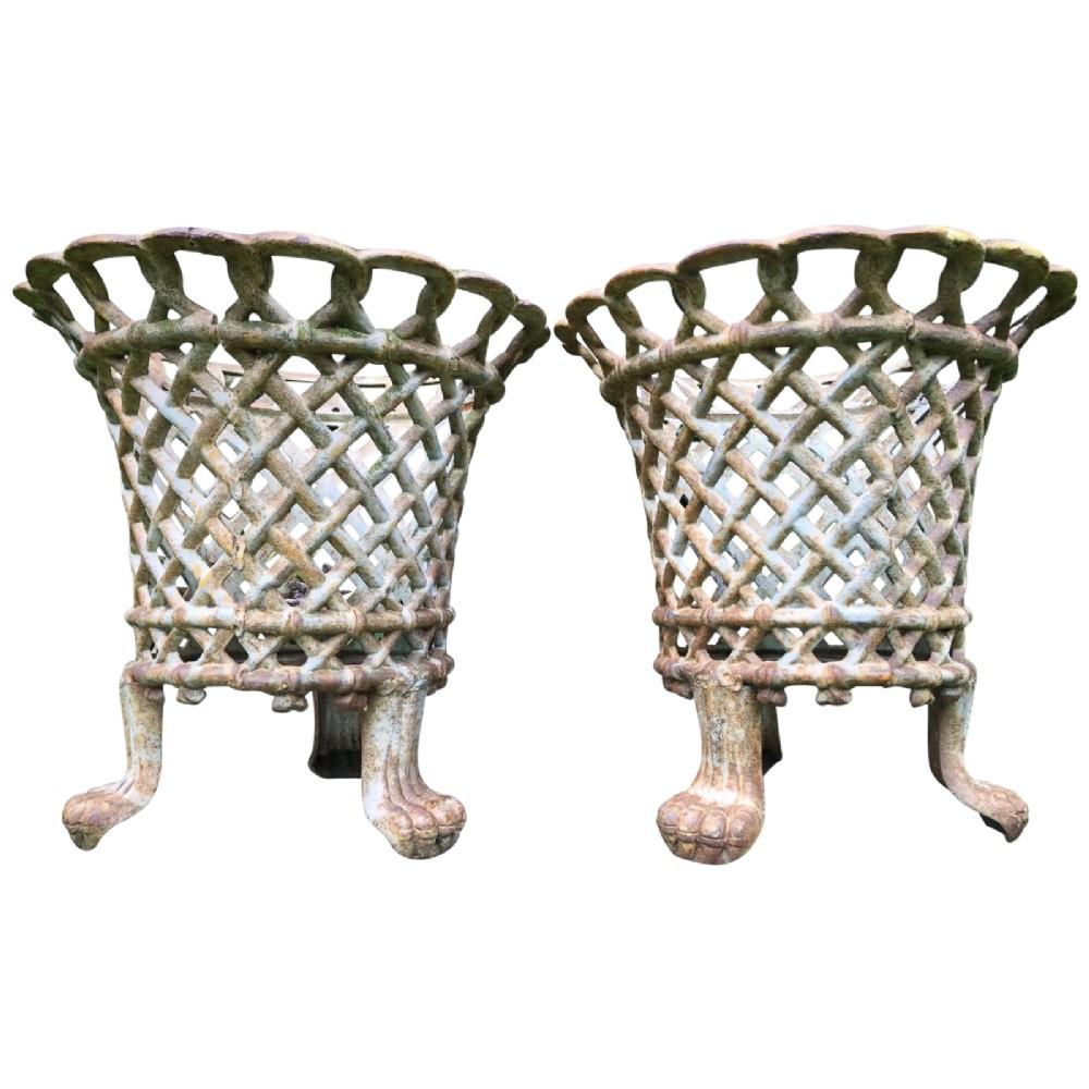 pair architectural garden cast iron lattice urn planters claw feet