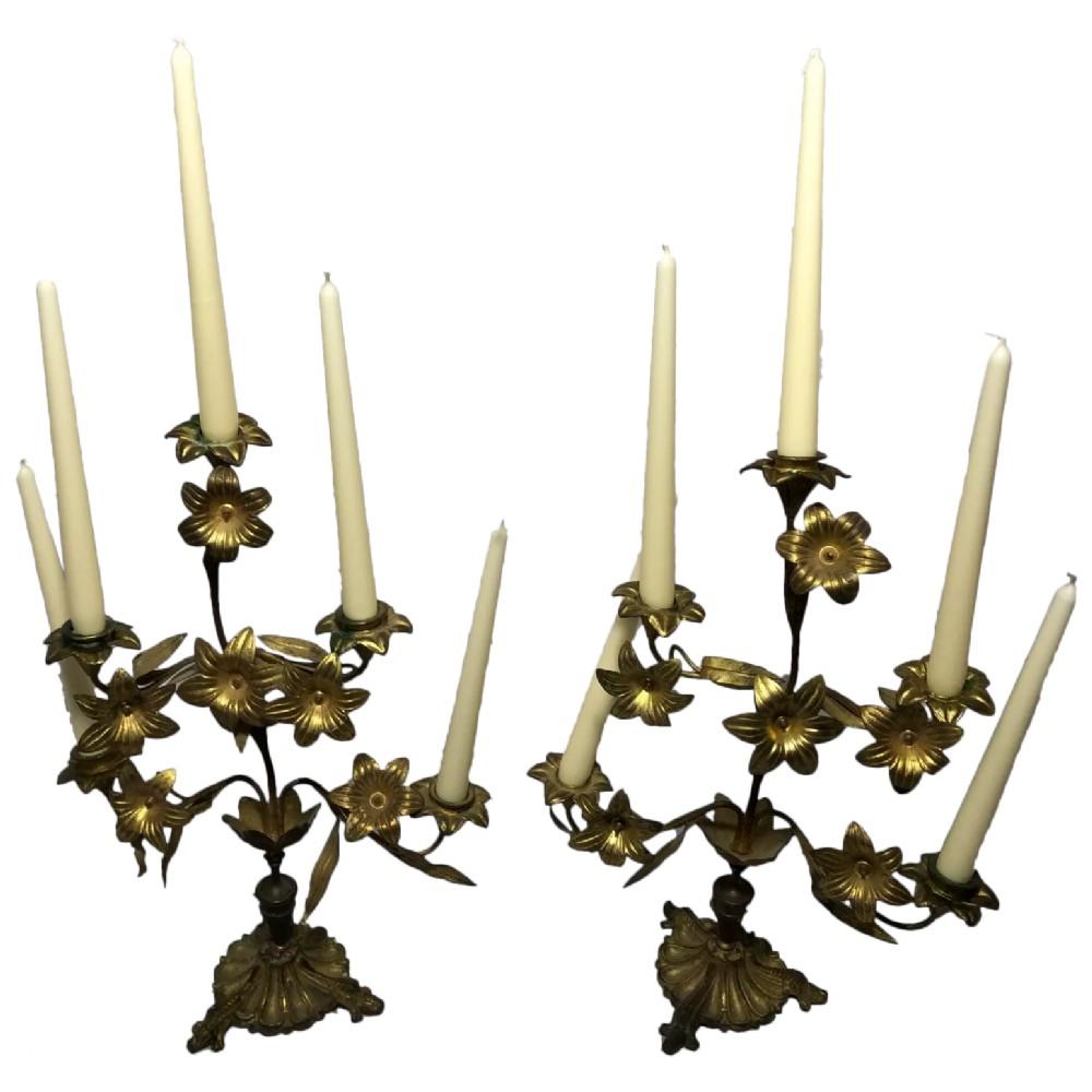 pair art nouveau french gilt bronze ormolu 5 branch candelabra's