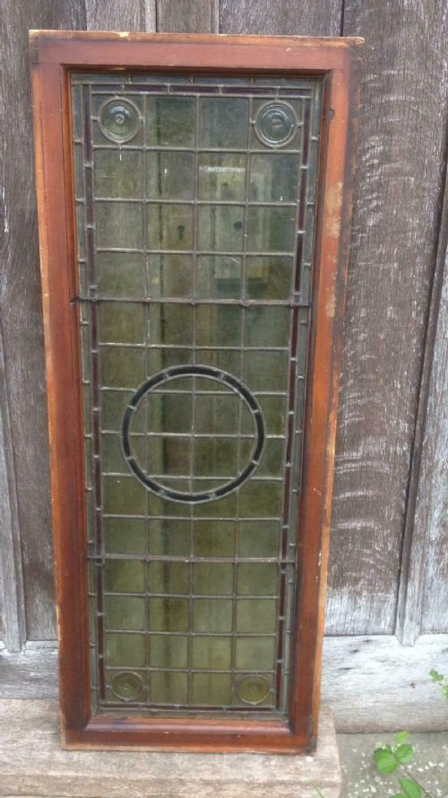 architectural antique arts crafts bullseye leaded glass window frame