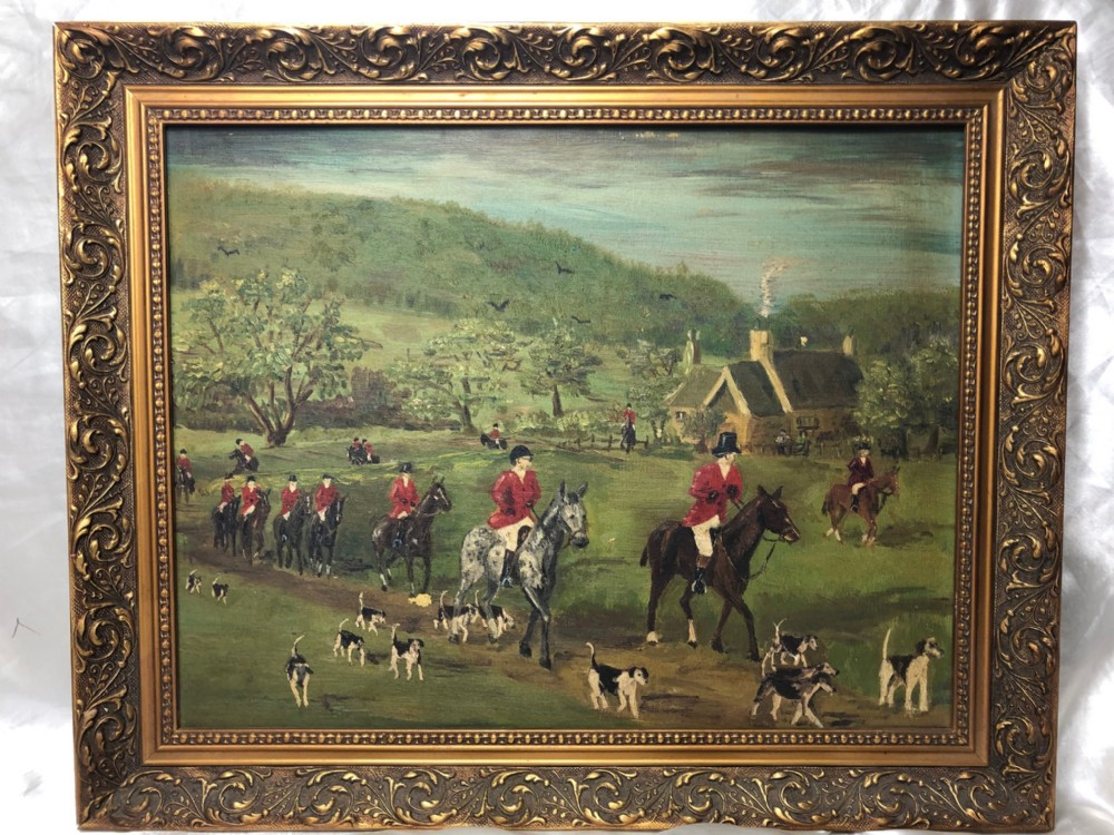 naive fox hunt oil painting horse riders with hunting dogs gilt framed