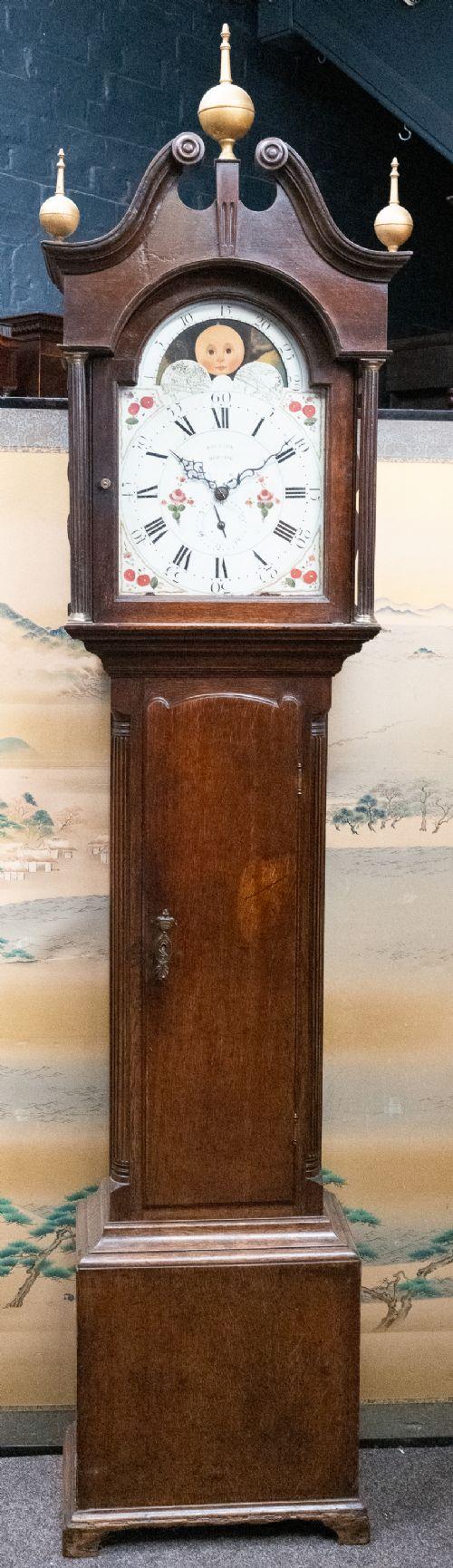 english oak long case clock