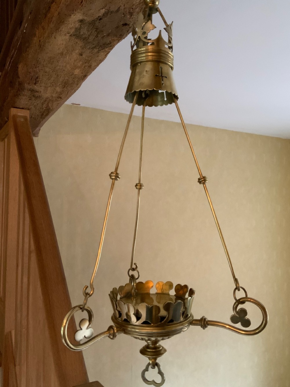 a gothic style brass candle lantern