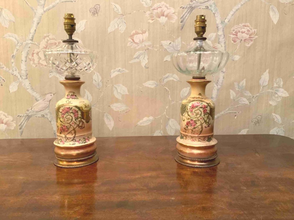 a pair of late 19th century porcelain table lamps