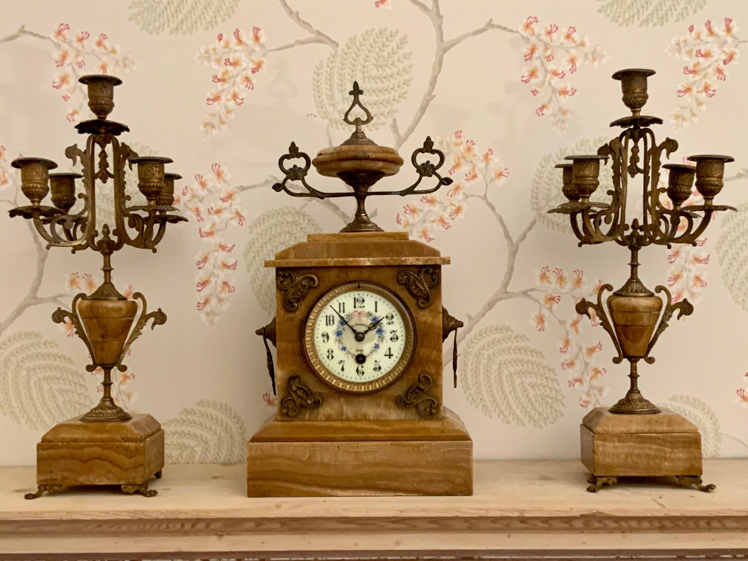 19th century french clock garniture