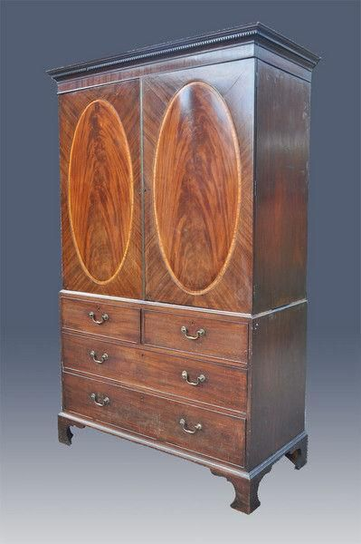 hepplewhite period mahogany linen press