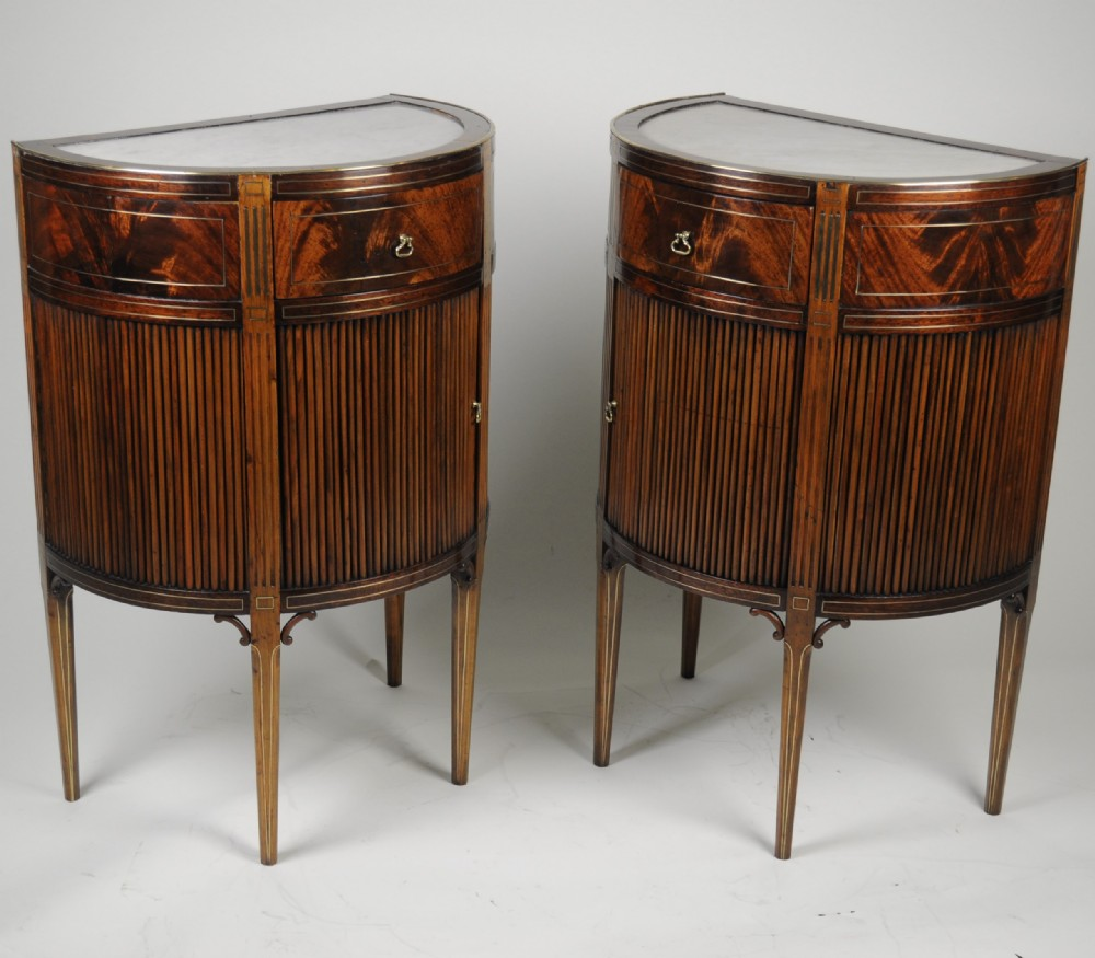 fine pair of french mahogany and brass inlaid bedsideside cabinetscommodes