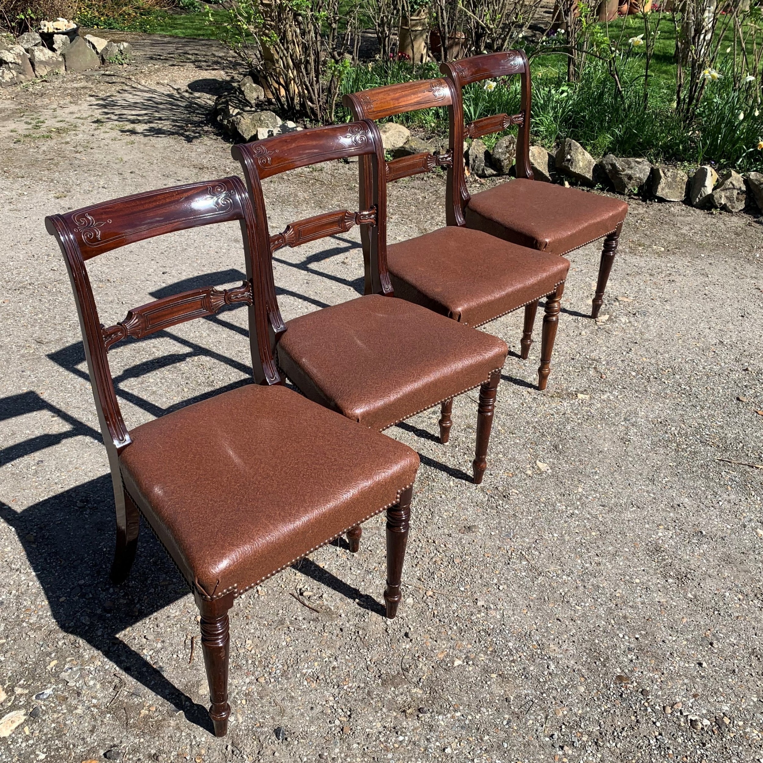 set of four high quality regency mahogany dining chairs