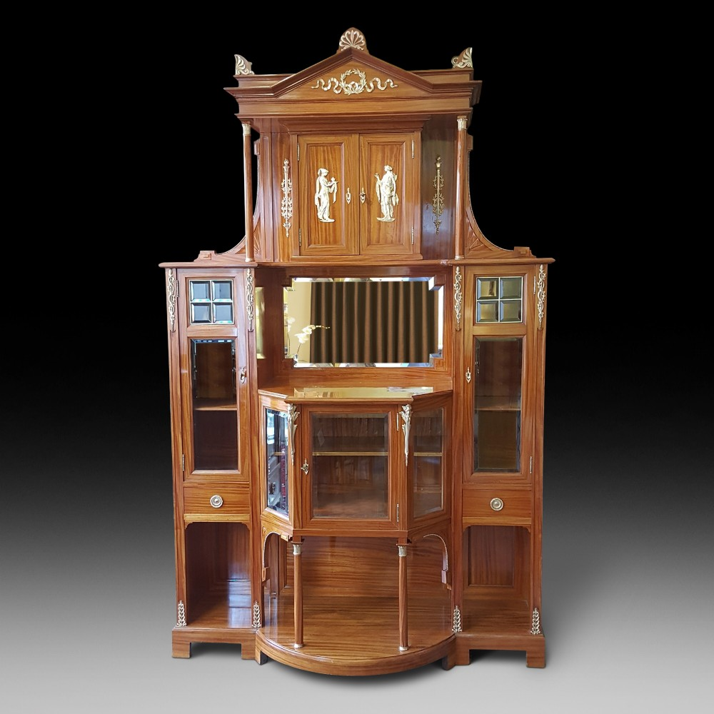 exhibition quality late 19thc swiss satinwood salon cabinet