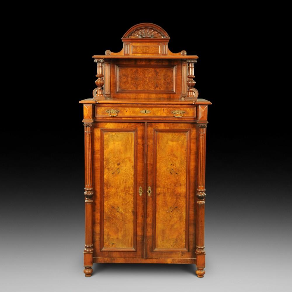 victorian black walnut tall cabinet