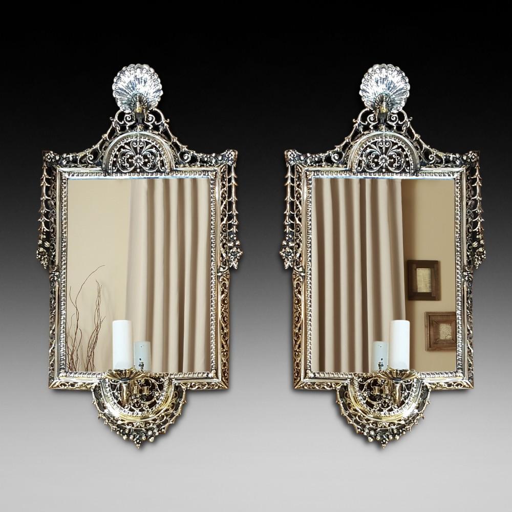 pair of late 19thc giltbrass girandole mirrors