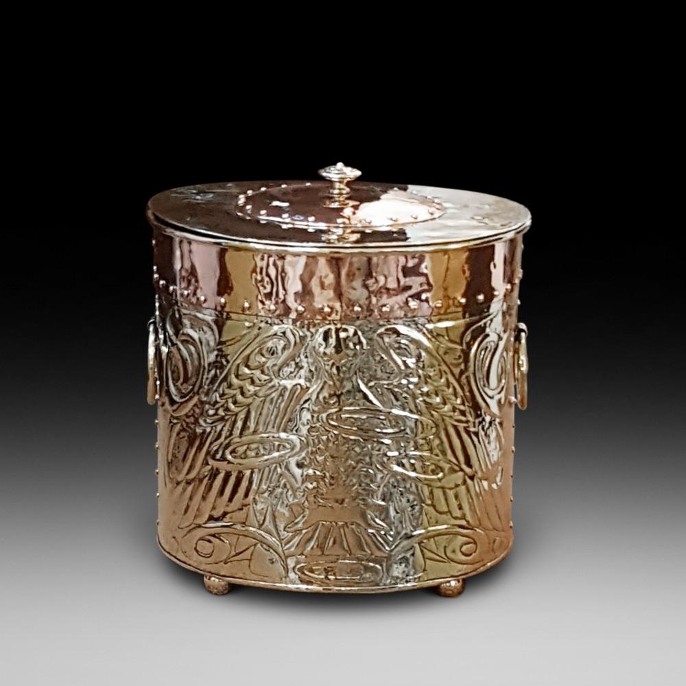 arts crafts copper and brass log bin