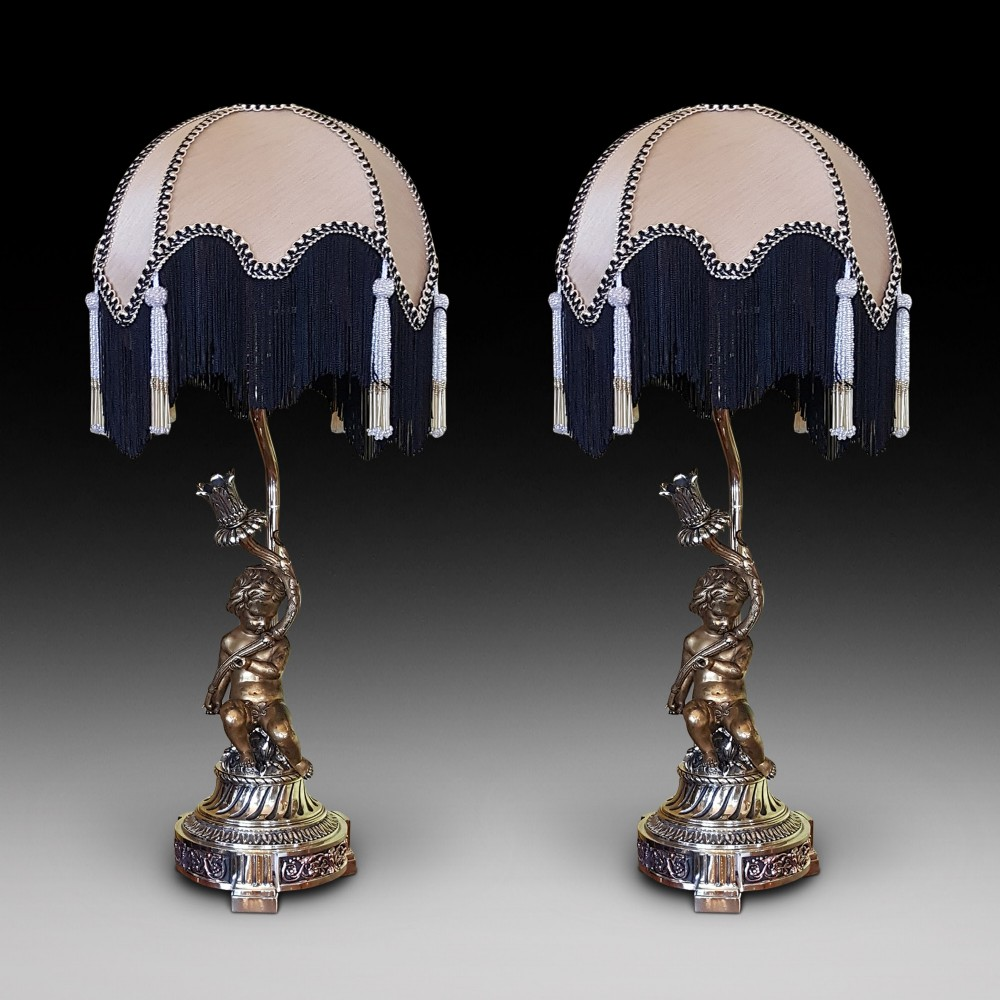 pair of late 19th c french gilt bronze table lamps