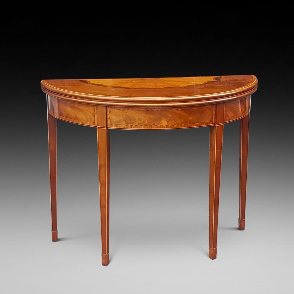 late georian mahogany half moon tea table