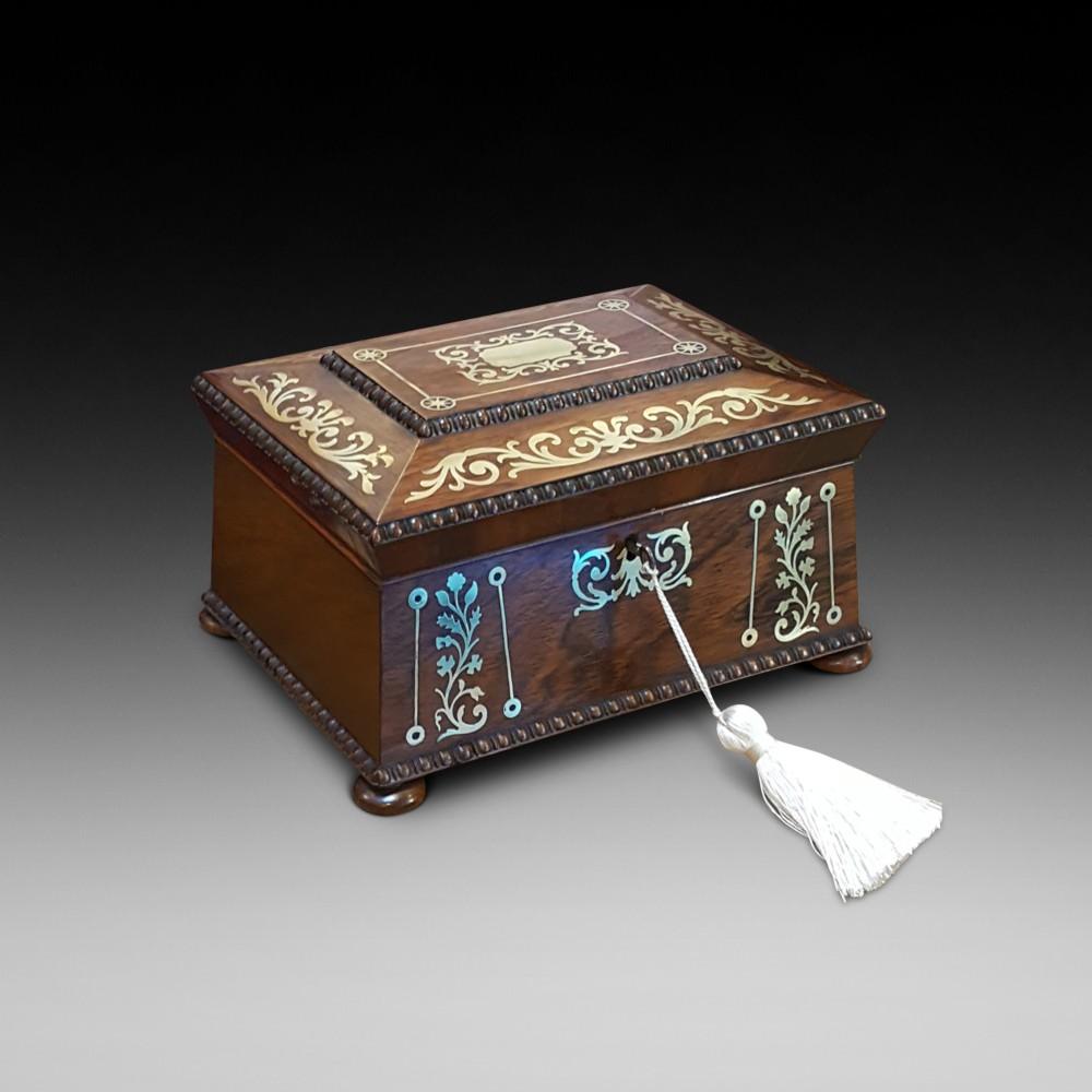 regency rosewood and brass inlaid jewellery box