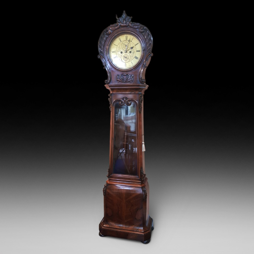 late regency rosewood longcase clock by dduff of paisley