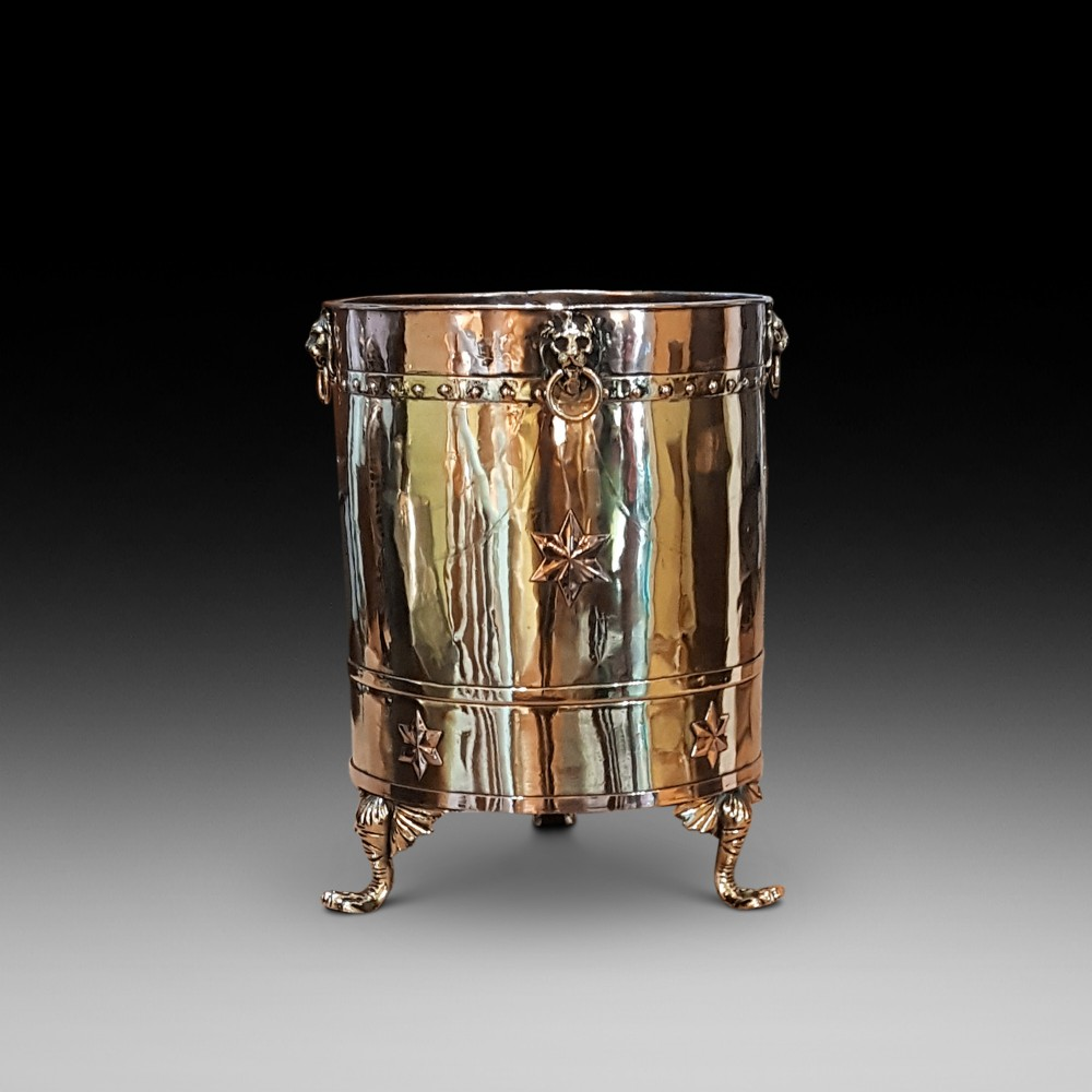 19thc brass and copper cylindrical coal or log bucket