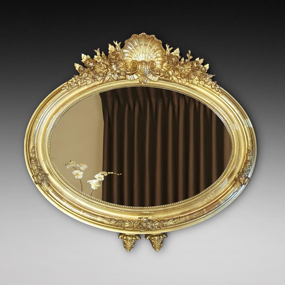 19thc gilt geso framed wall mirror