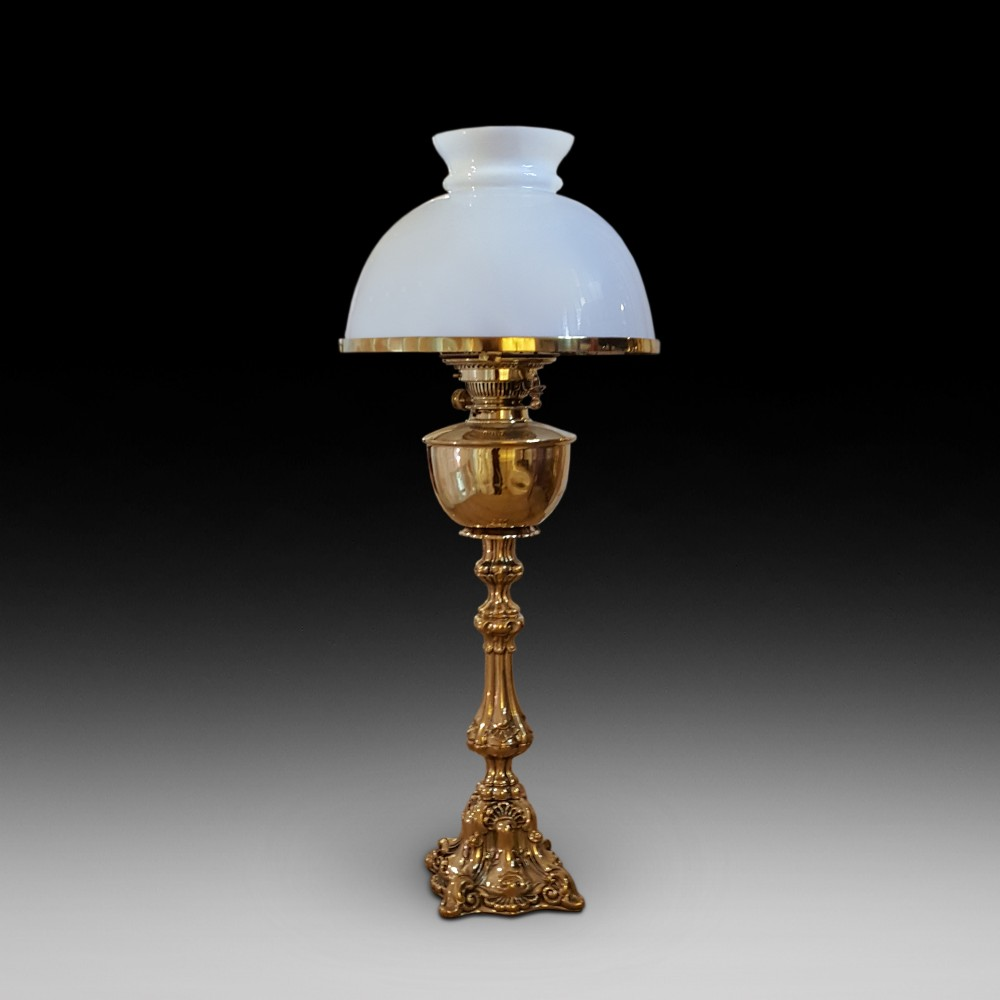 victorian brass oil lamp with white glass shade