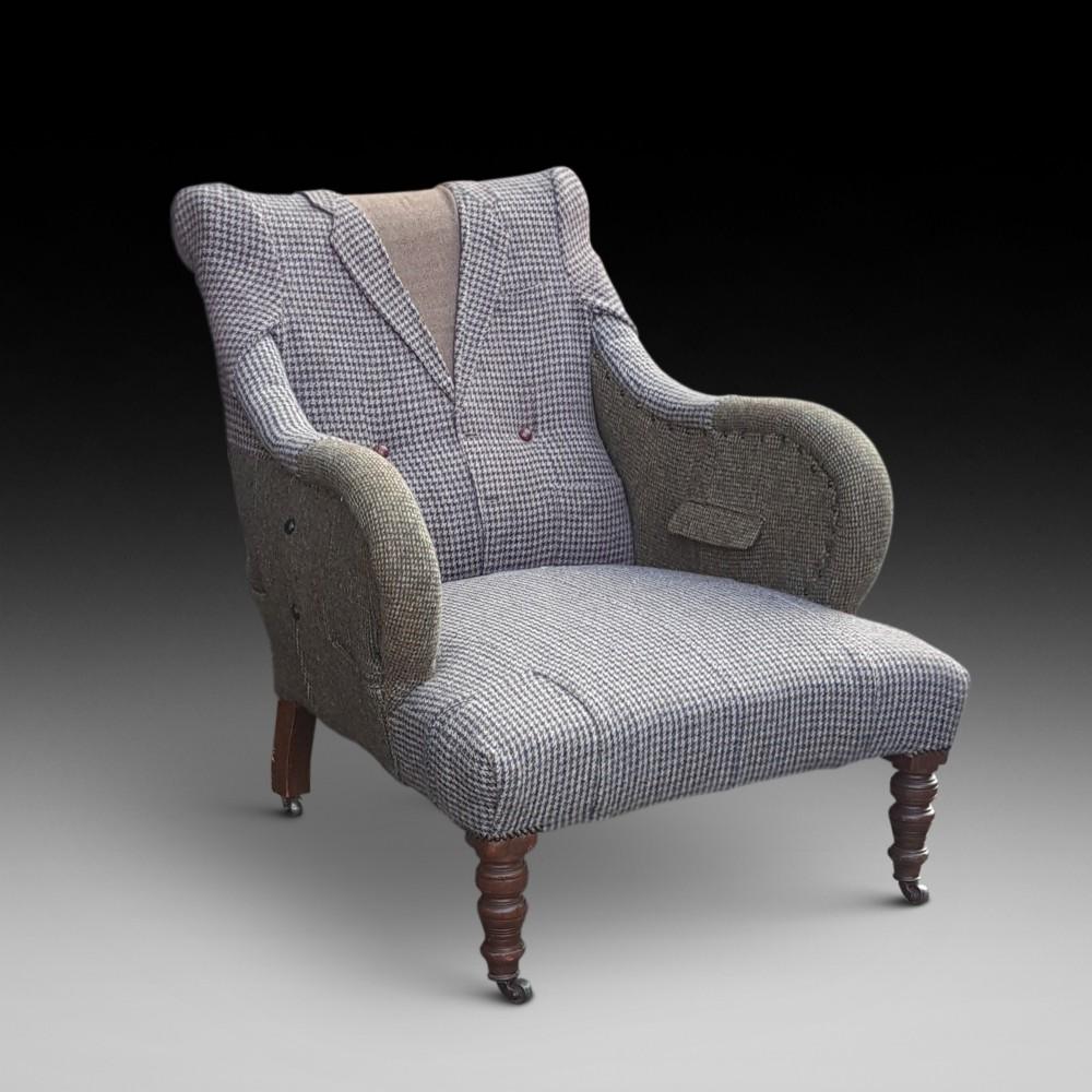 victorian armchair upholsterd as a jacket