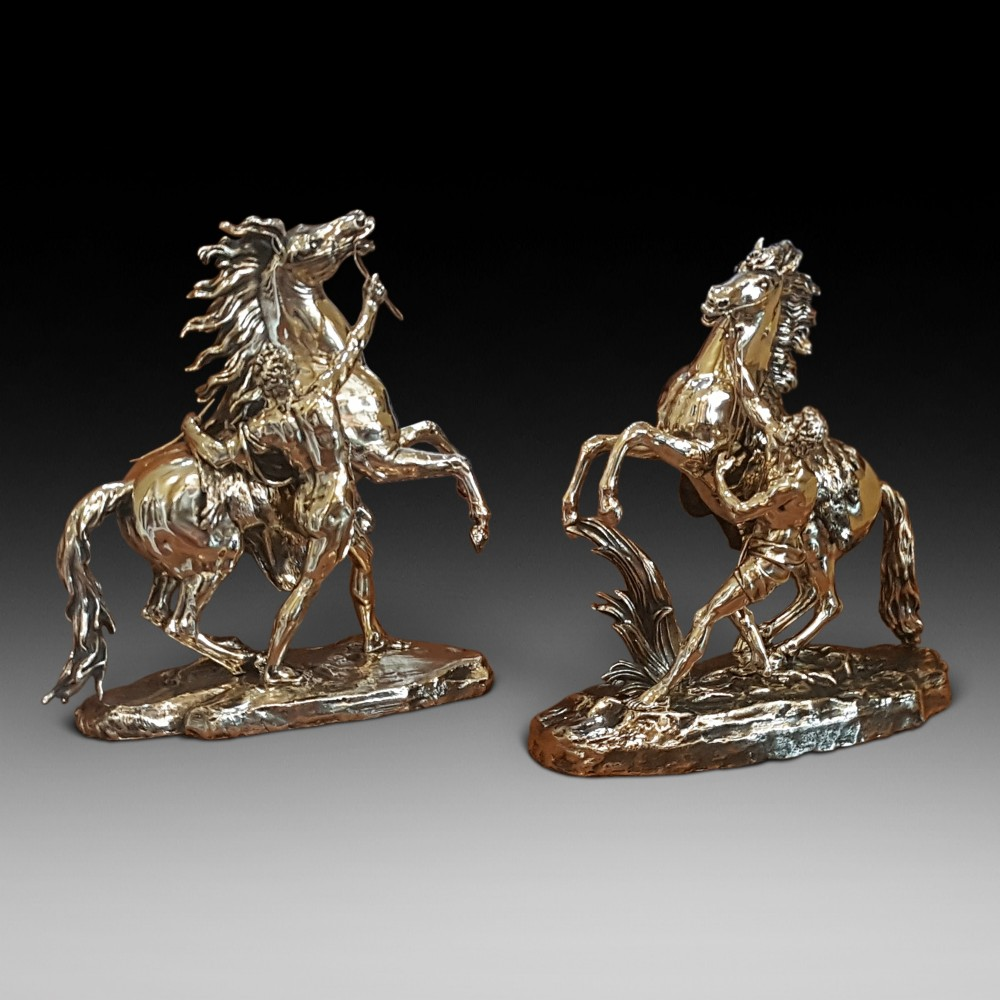 large pair of victorian brass marly horses