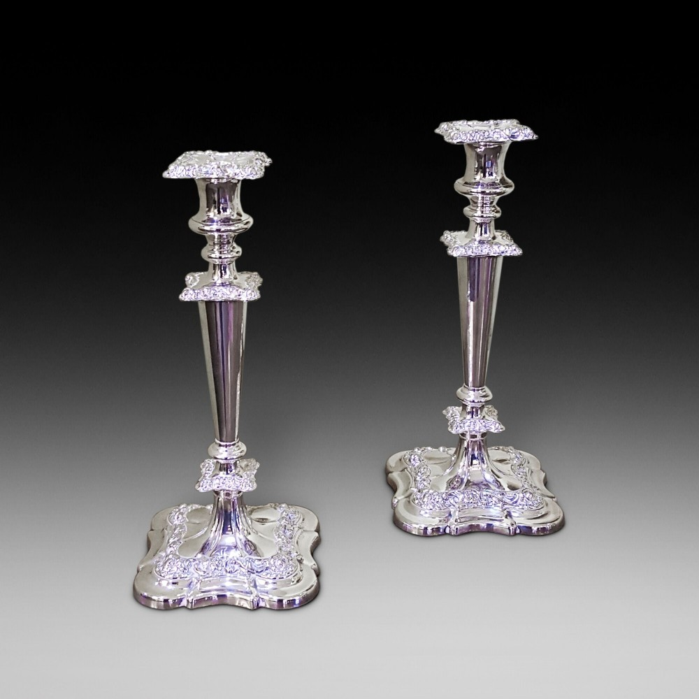 pair of late19thc silver plated candelabrum