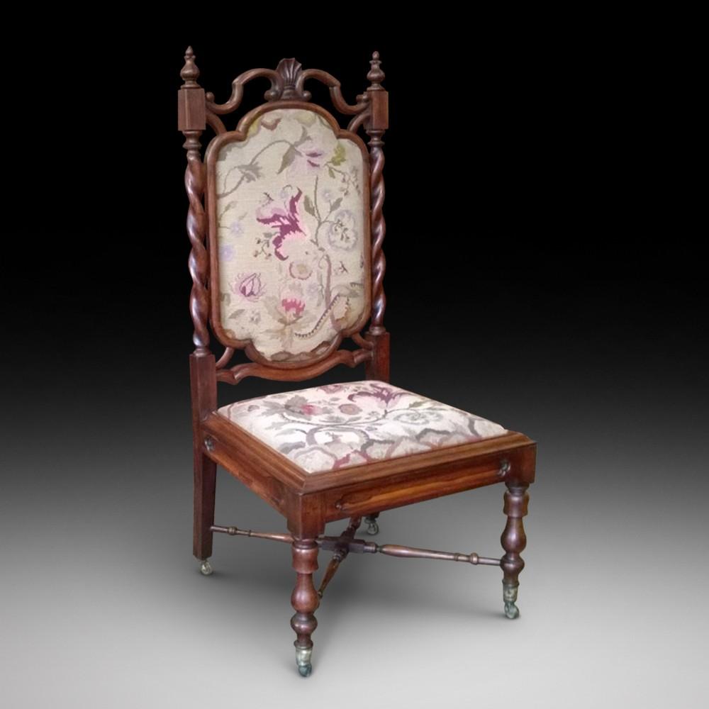 gothic revival rosewood nursing chair