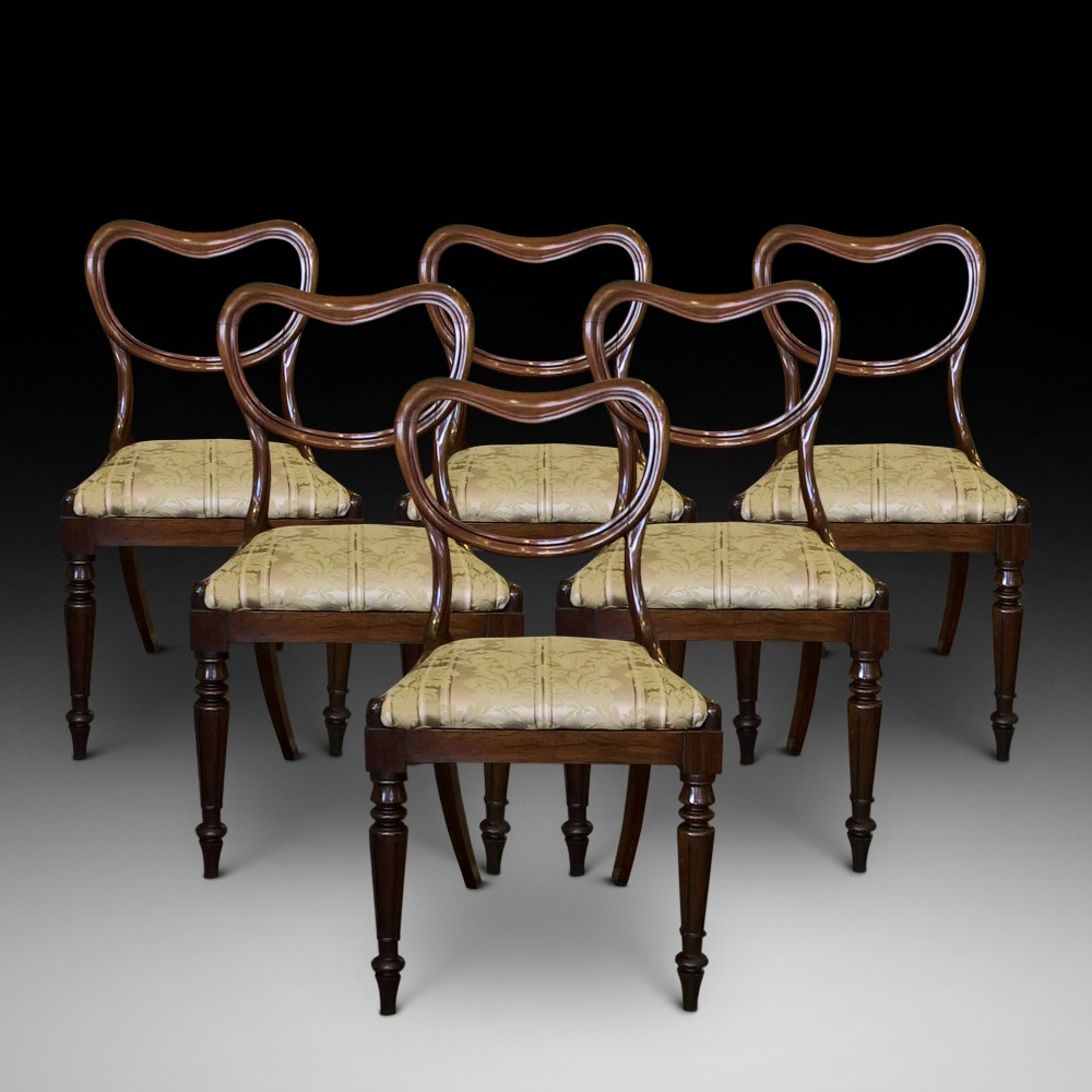 six late regency rosewood dining chairs