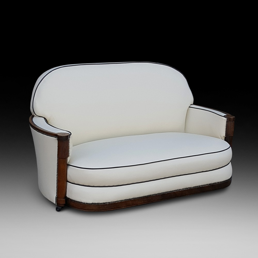 art deco oak framed two seater sofa settee