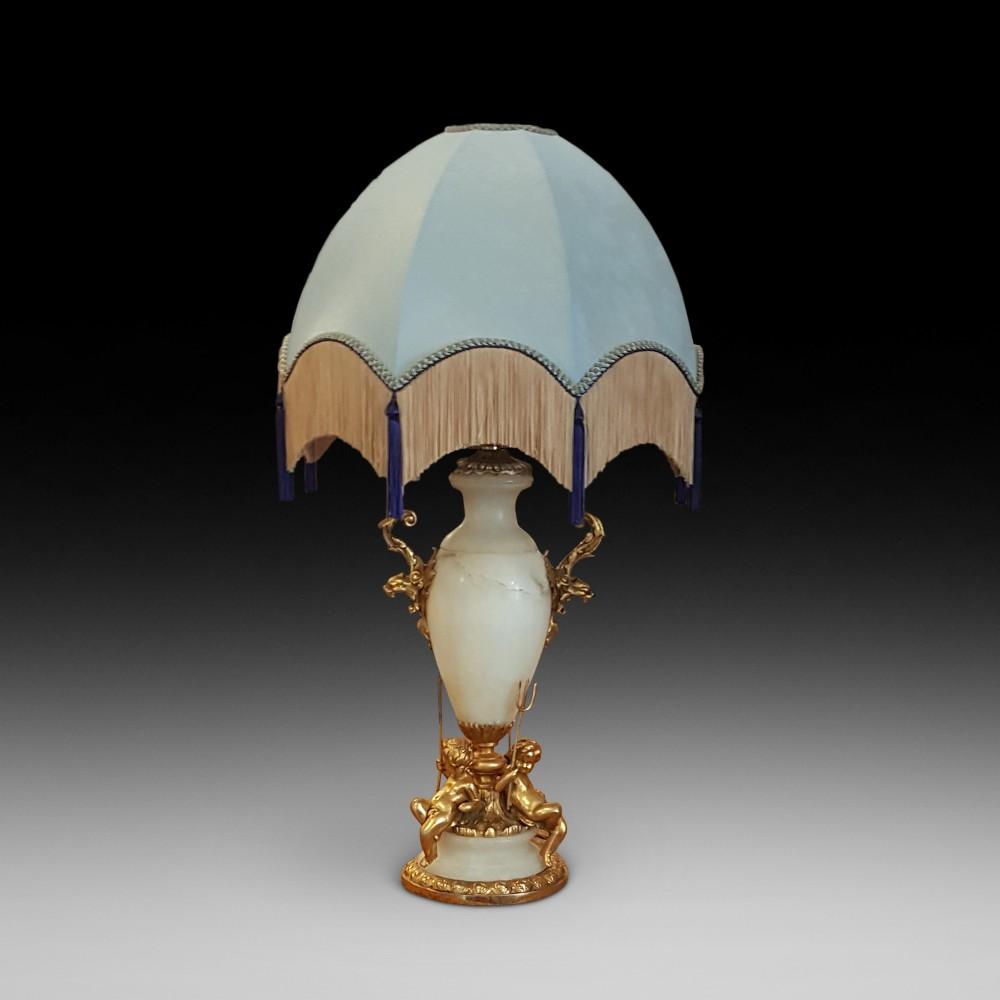 early 20thc alabaster and gilt table lamp