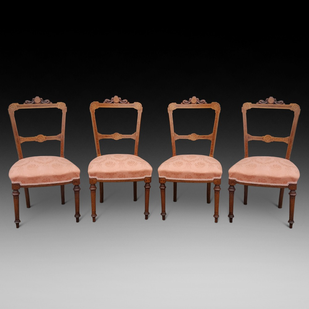 set of 4 victorian walnut salon chairs