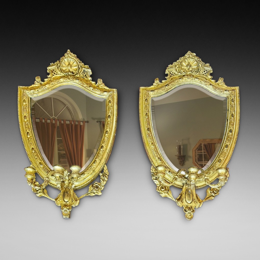 pair of mid 19thc gilt and gesso girandole mirrors