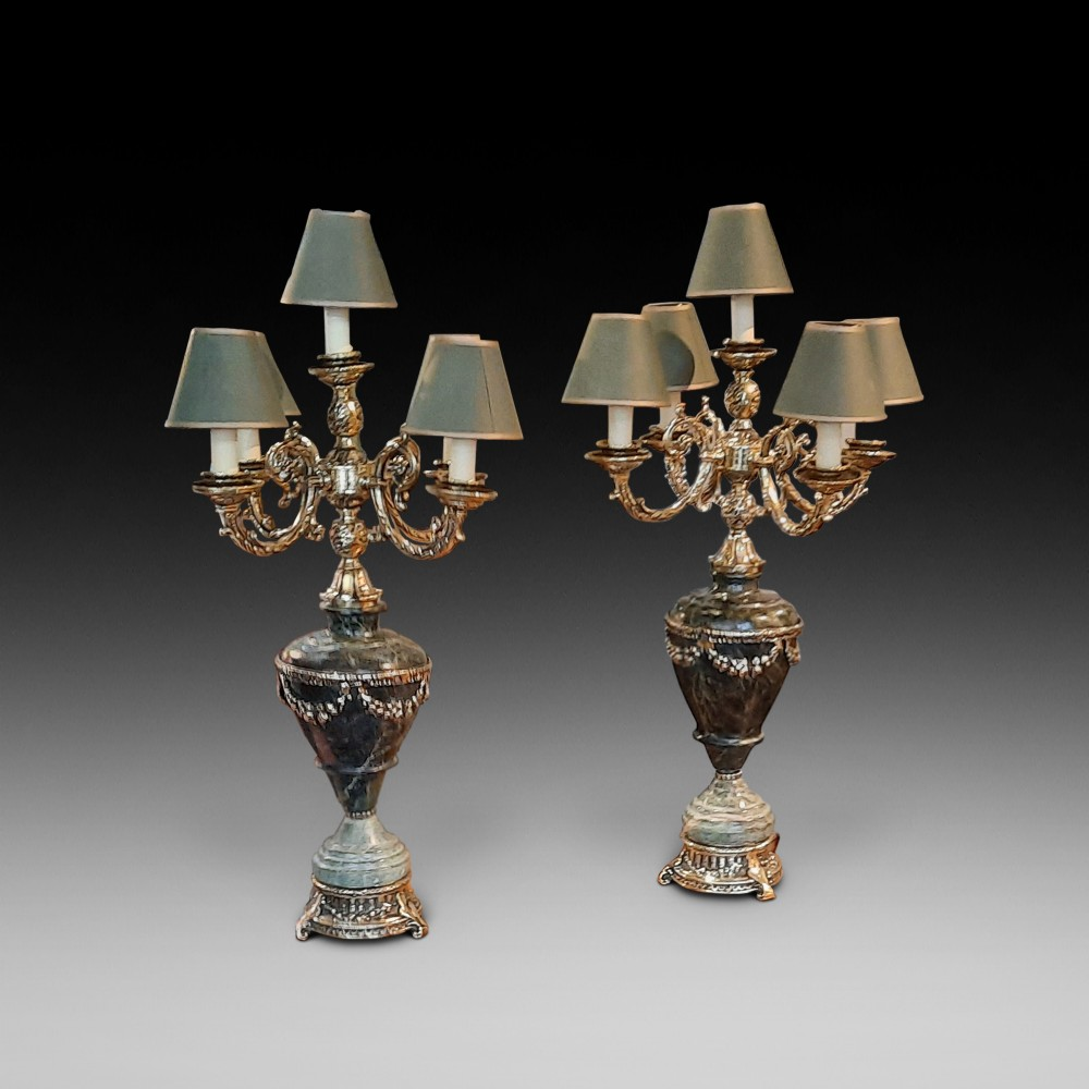 pair of classical style marble and ormolu table lamps