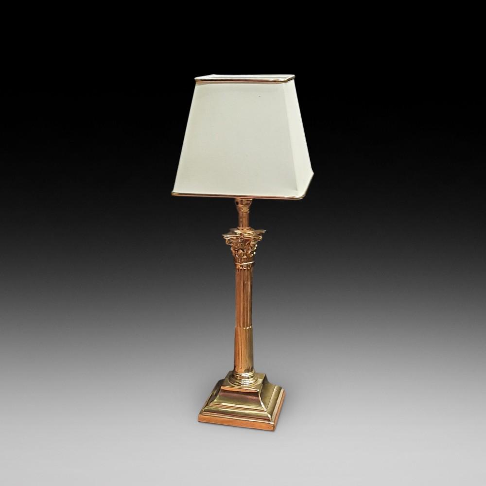 edwardian brass corinthian column table lamp
