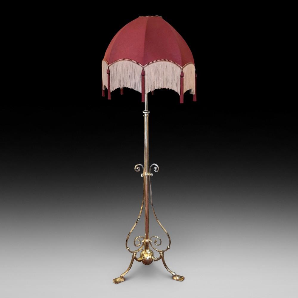 edwardian brass extending standard lamp