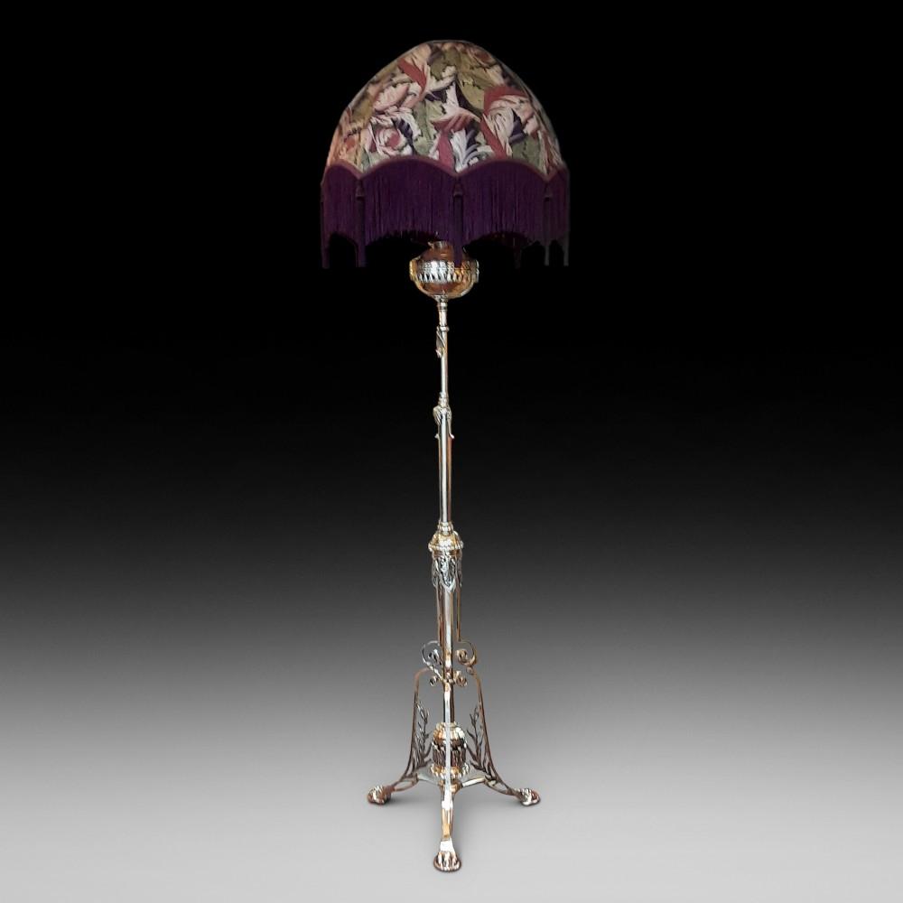 late victorian brass and copper brass extending standard oil lamp