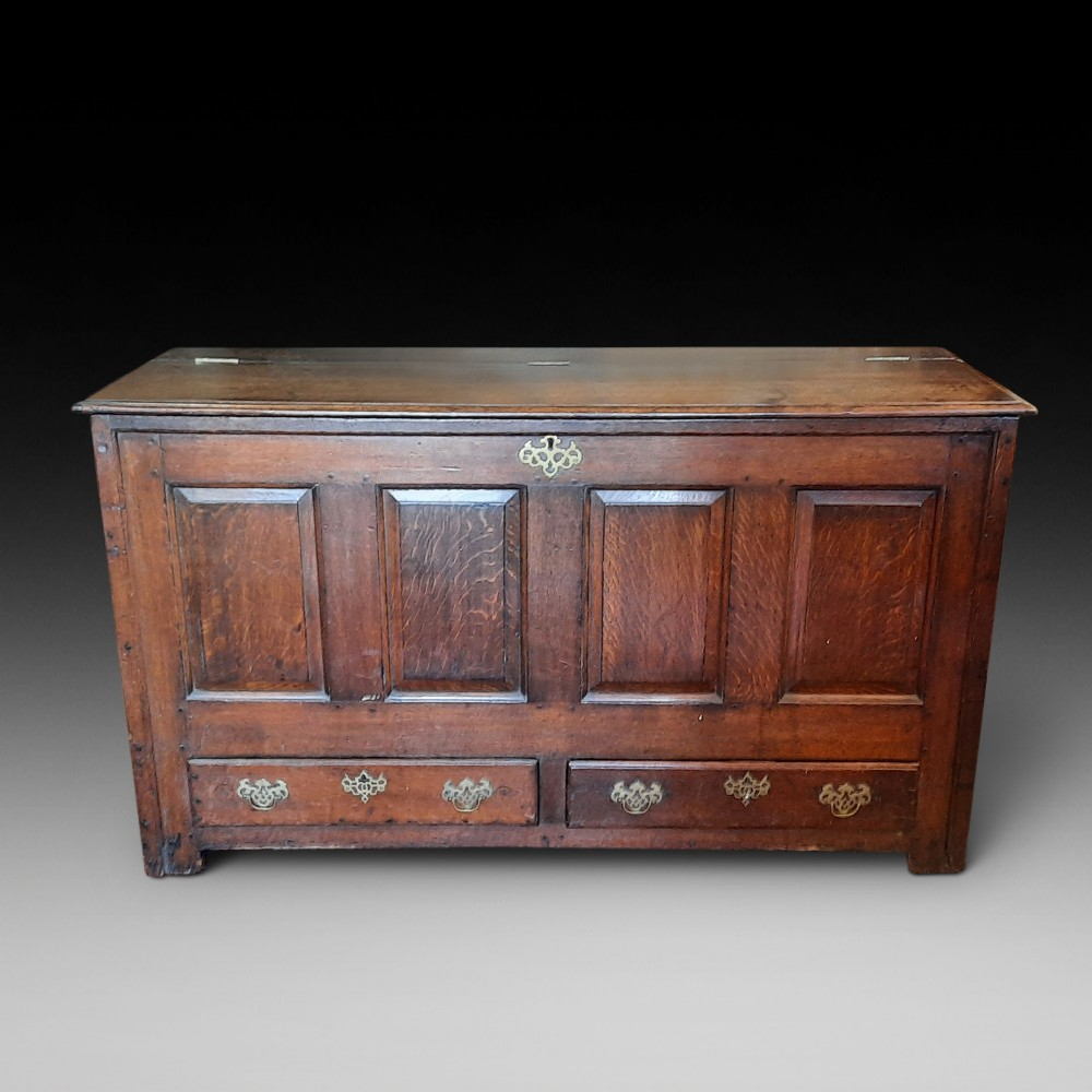 18thc oak lancashire mule chest