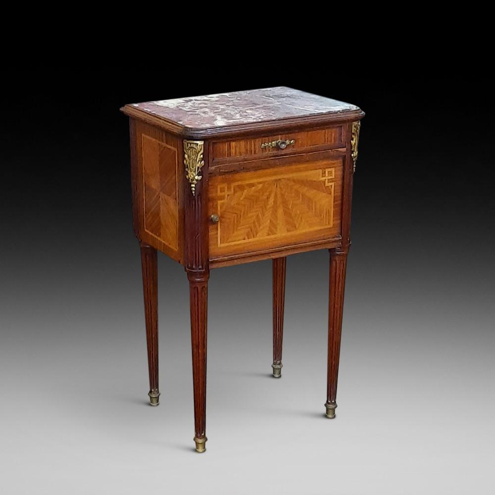 late 19thc french kingwood mahogany bedside cabinet