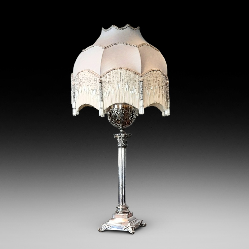 late 19thc silver plate mounted table oil lamp
