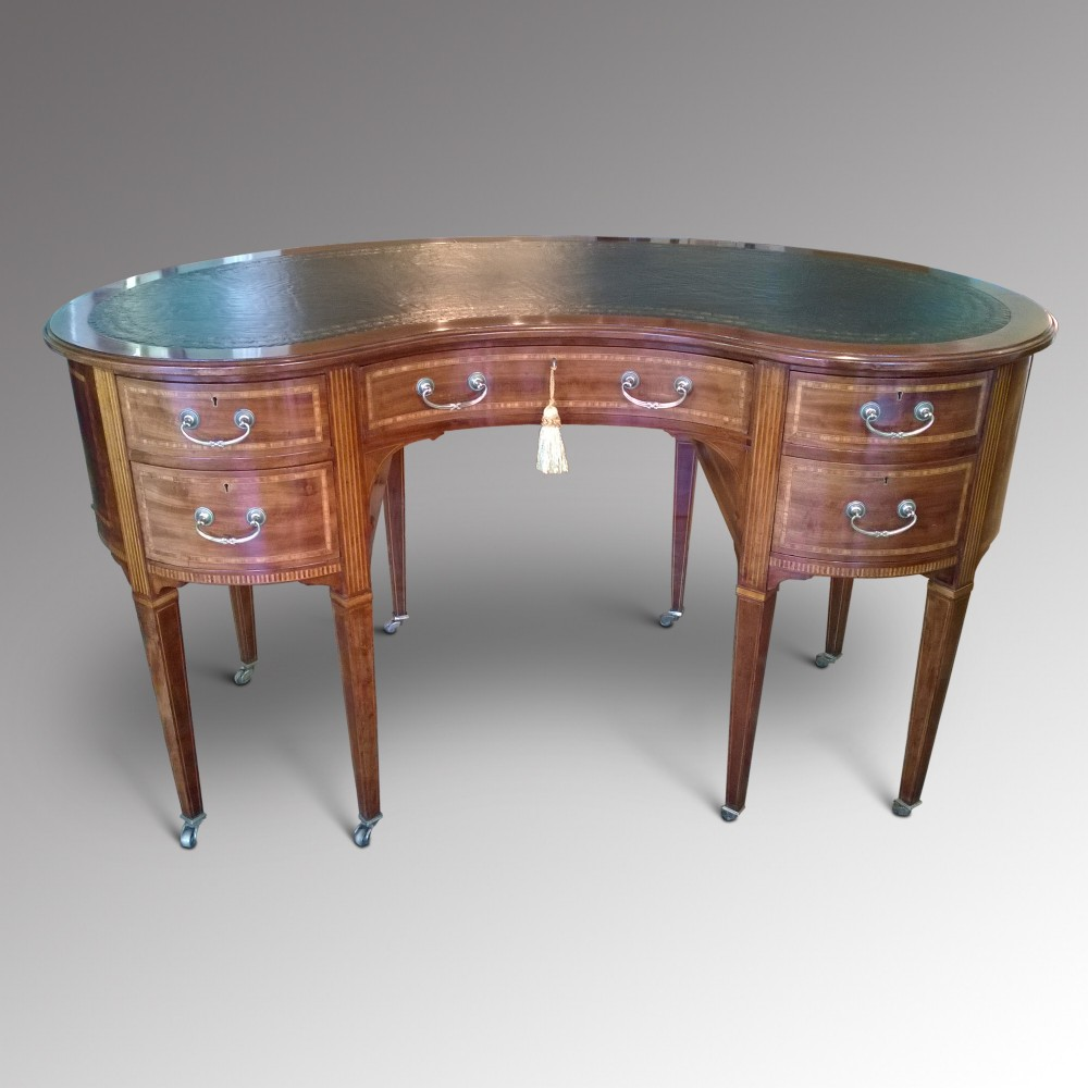 Edwardian inlaid mahogany kidney shaped desk 261128 for Kidney desk for sale