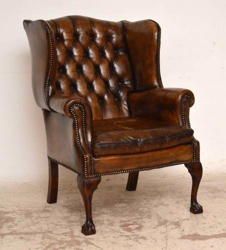 Antique Deep Buttoned Leather Wing Back Armchair 245036