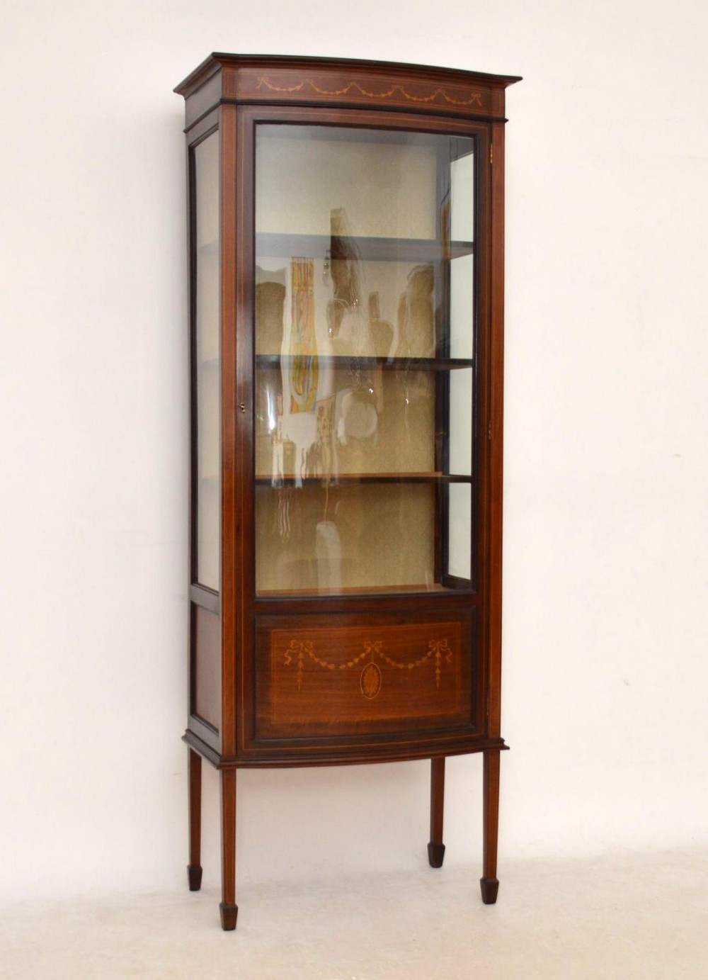 antique edwardian inlaid mahogany display cabinet 318153