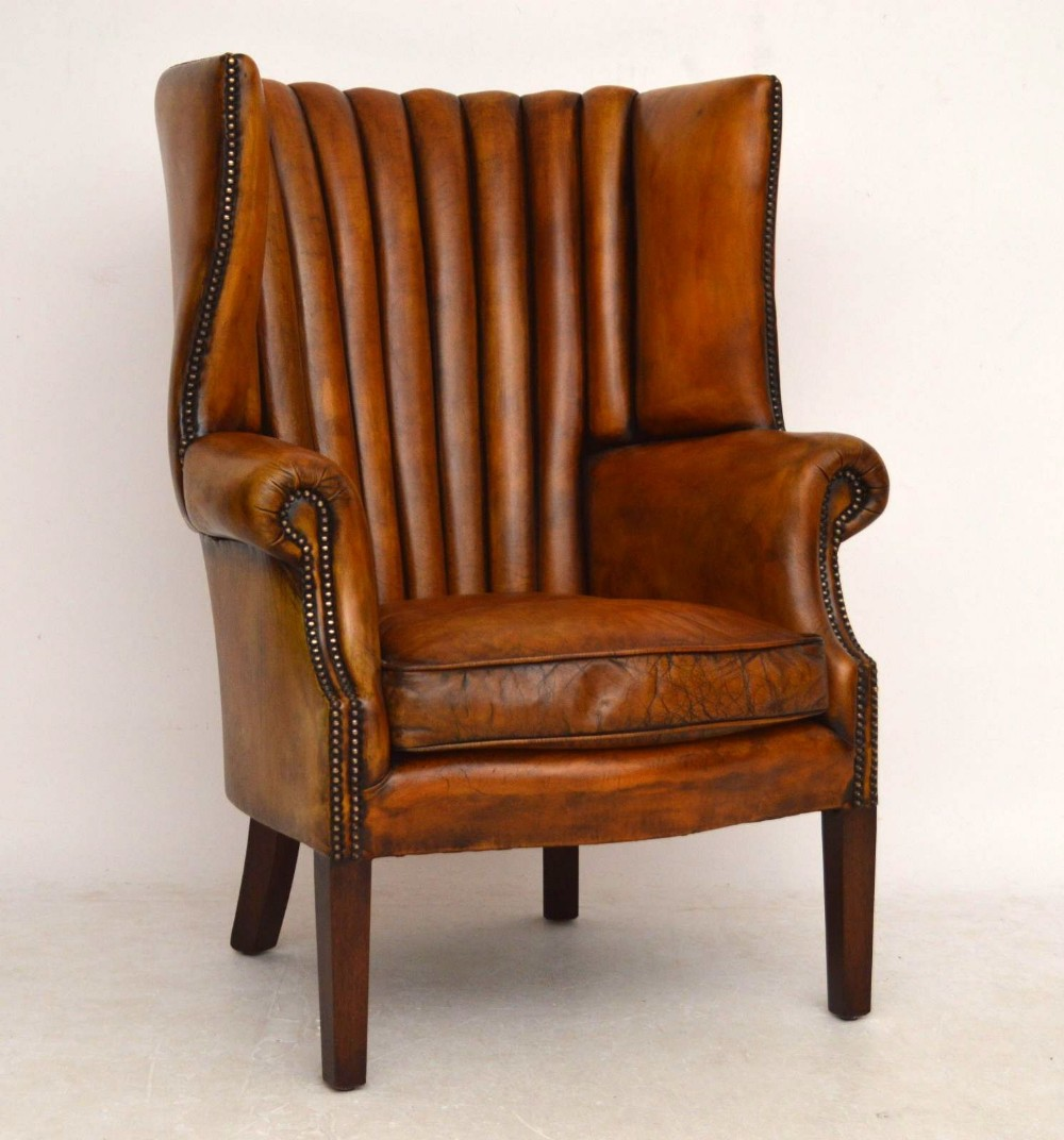 Antique Leather Ribbed Back Wing Armchair | 301762 ...