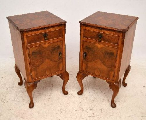 pair of antique queen anne style burr walnut bedside cabinets